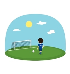 Cartoon boy practice kicking on training football vector image