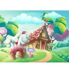 Cartoon sweet candy house vector