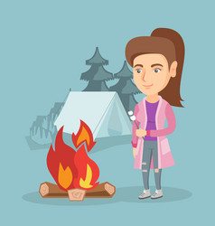Caucasian woman roasting marshmallow over campfire vector
