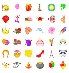 celebration icons set cartoon style vector image vector image