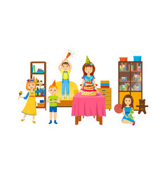 Children having fun in room on a holiday evening vector