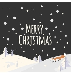 Christmas landscape with trees and forest animals vector image vector image
