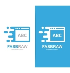 Fast browser logo combination speed web vector