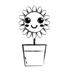 Figure kawaii beauty and happy flower plant vector