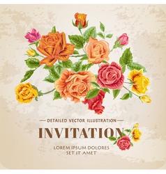 Floral Roses Vintage Card vector image