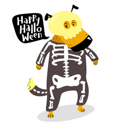 halloween dog character in skeleton costume with vector image