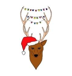 Hand Drawn of Christmas deer vector image vector image