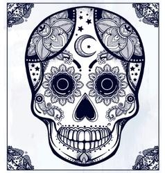 Hand drawn sugar skull in ornate frame vector image