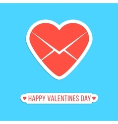 happy valentines day sticker with red heart letter vector image vector image