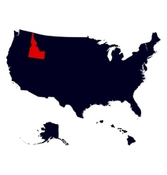 Idaho State in the United States map vector image vector image
