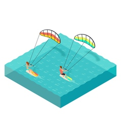Isometric of kite surfers man and woman on vector