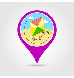 Kite pin map icon summer vacation vector