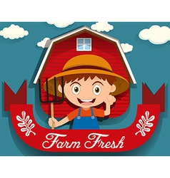 Logo design with farmer and barn vector image vector image