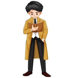 Man in brown overcoat reading book vector