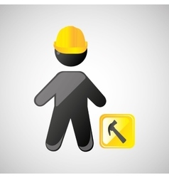 man silhouette helmet and hammer design graphic vector image
