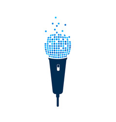 Microphone logo on white background isolated mic vector