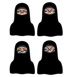 Muslim woman in black hijab vector