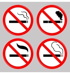 No Smoking Cigarette Prohibited Symbols vector image