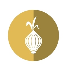 Onion vegetable nutrition sprout icon beige circle vector