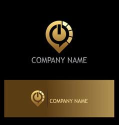 power technology icon gold logo vector image