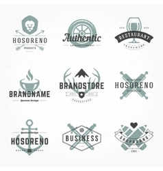 Retro hand drawn logos templates set vector