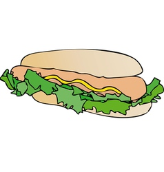 Sandwich with sausage and mayonnaise vector