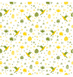 seamless pattern with hummingbird and leaves cute vector image