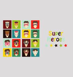 set of superhero in action superhero character vector image