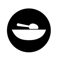 Soup dish with spoon vector