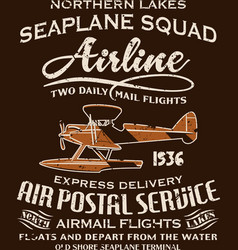 Vintage seaplane airmail service vector image vector image