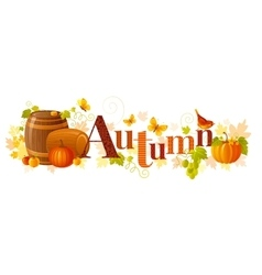 Word autumn with vector
