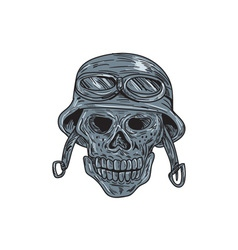 Skull biker helmet drawing vector