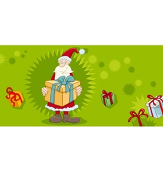 Xmas greeting card with santa vector
