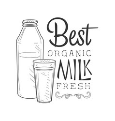 Best organic fresh milk product promo sign in vector