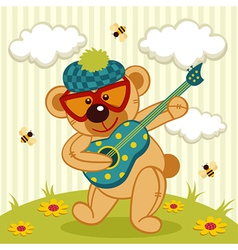 Teddy bear play on a guitar vector