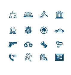 Law and order icons micro series vector