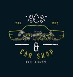 Car shop and wash emblem vector