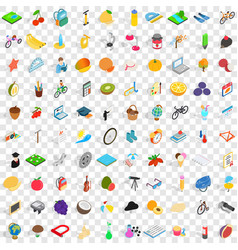 100 childhood icons set isometric 3d style vector