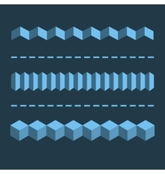 3-d horizontal linear dividers borders geometric vector