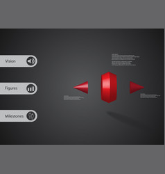 3d infographic template with two spiked cone vector