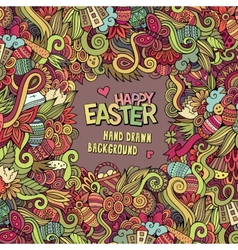 Doodles abstract decorative easter frame vector
