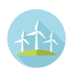 Windmill flat icon with long shadow vector