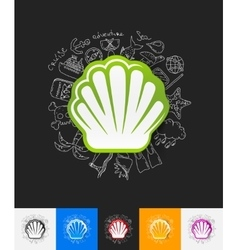 Shell paper sticker with hand drawn elements vector
