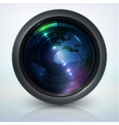 Camera lens with globe vector