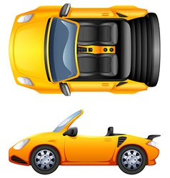 A top and side view of a sports car vector