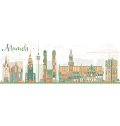 Abstract munich skyline with color buildings vector