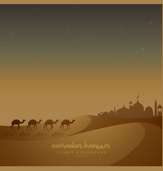 Beautiful islamic background with camels walking vector