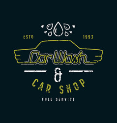 Car shop and wash emblem vector