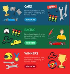 cartoon car racing banner horizontal set vector image