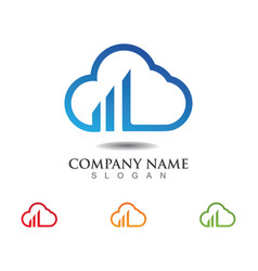 Cloud servers data logo and symbols icons vector